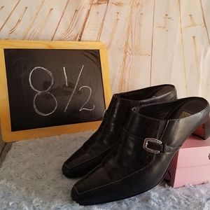 Brighton Tiana Black Leather Mules Size 8 1/2